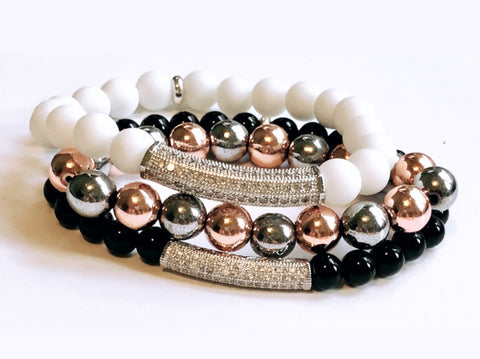 Pav̩ set spacers on Black Onyx,White Jade and Rose and Silver Hematite Beads