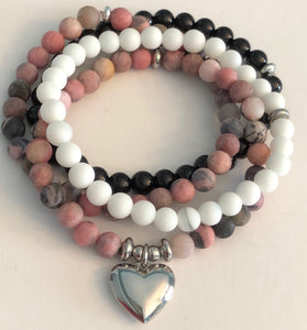 Heart Charm on Beautiful Rhodonite Bead Bracelet