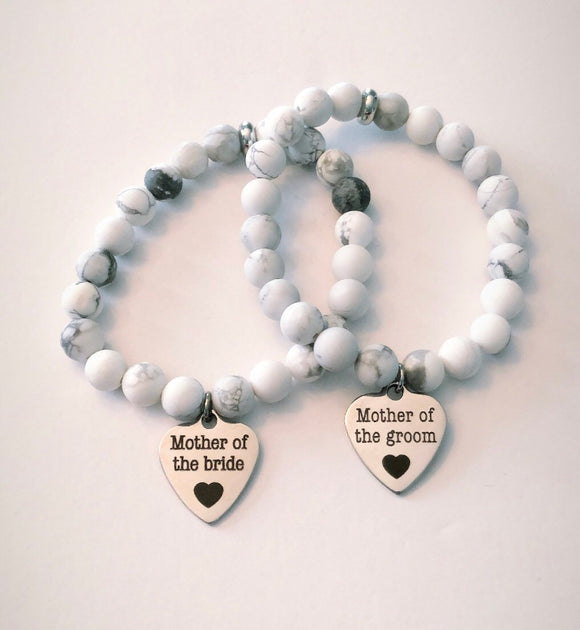 Bridal Party Gemstone Bracelets - White Howlite - Silver Hematite - Rose Gold Hematite