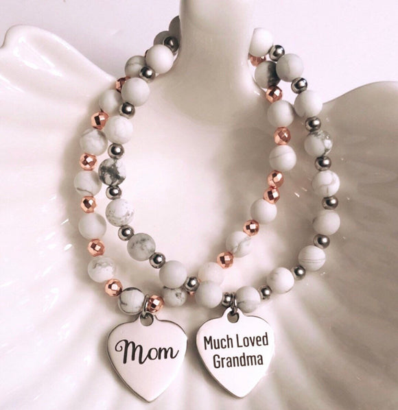 Mothers Day Bracelet Much Loved Grandma on White Howlite & Rose Hematite or Silver Hematite Beads.