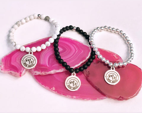 MOM SQUAD Charm Bracelet on your choice of White Howlite - Matte Black Onyx or Silver Hematite