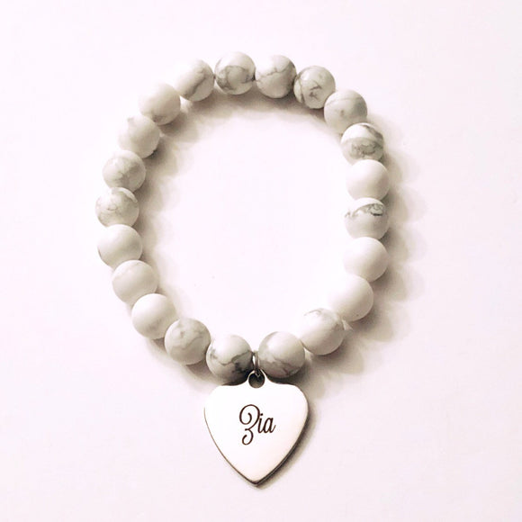 Zia Charm on White Howlite Bead Bracelet