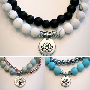 Set of 2, Tree of Life or Lotus Charm Bracelet