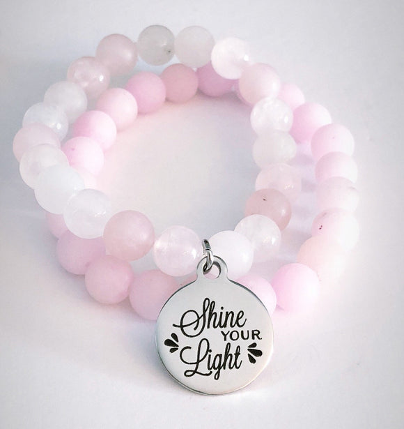 Shine your Light - Rose Quartz Bead Bracelet - Stainless Steel Charm