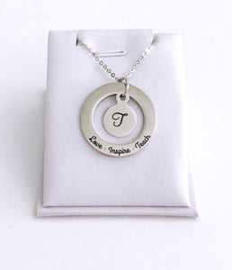Love Inspire Teach- Teachers Initial Necklace- High Quality Stainless Steel Pendants and Chain