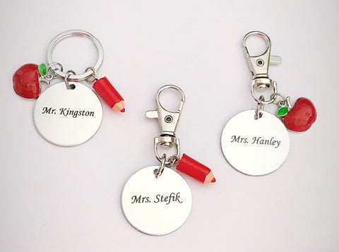 Personalized Teacher Keychain with choice of apple or red pen