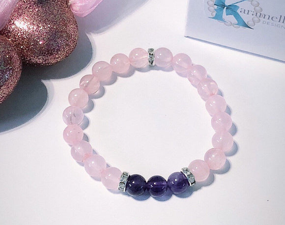 Amethyst and Rose Quartz Ladies Bracelet with Stainless Steel CZ