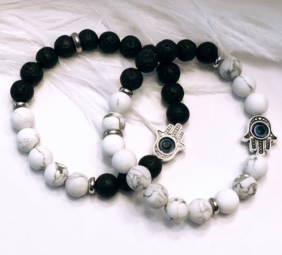Hamsa and Evil Eye Bracelet -White Howlite and Lava Beads