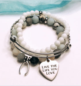 Wish Bone and Live the Life you Love Stack of 3 Bracelets includes stainless steel bangle