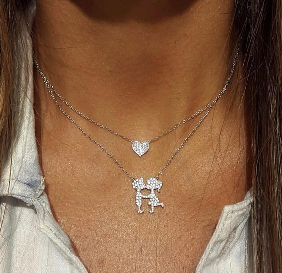 Kissing couple and Heart Necklaces in Sterling Silver