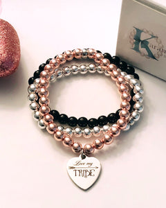 Love my Tribe Bracelet - Stainless Steel Charm - Choice of Bead Bracelet