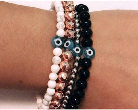 "Evil Eye Bead Bracelet - Bead Bracelets- Ladies 7"" - Stretch Elastic - High Quality Gems"
