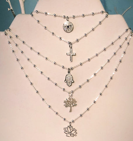 "Sparkly Beaded Sterling Silver Chain 18"" with choice of pendant"
