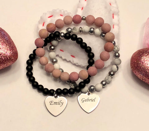 Personalized Engraved Stainless Steel Bar, Heart or Round charm bracelets with your choice of Bead.