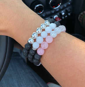 SALE Lava Bead Bracelet with choice of White Jade, Rose Quartz or Silver Hematite