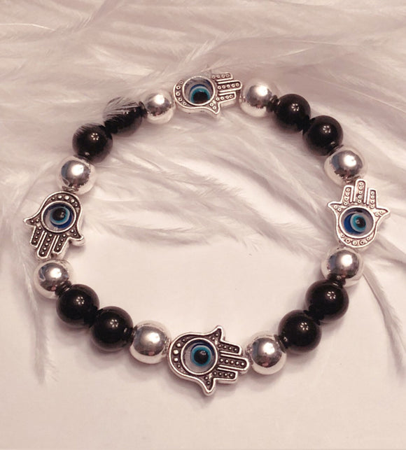 Evil Eye and Hamsa Bead Bracelet - Black Onyx and Silver Hematite Beads