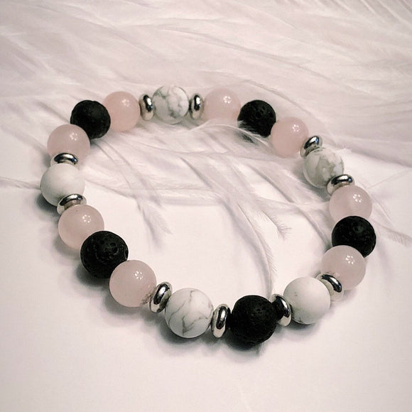 I am LOVED Diffuser Bracelet - Rose Quartz - White Howlite - Lava Beads
