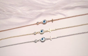 Evil Eye and Cross Bracelet in Yellow- Rose  in 925 Italian Sterling Silver Finish