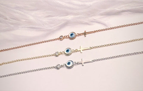 Evil Eye and Cross Bracelet in Yellow- Rose or Silver in 925 Italian Sterling Silver Finish