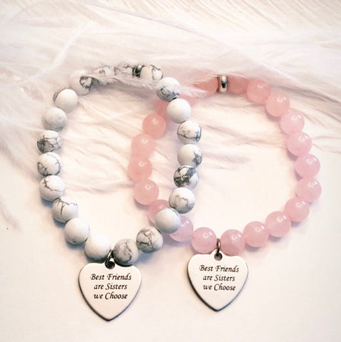 Best Friends are Sisters we Choose - choice of bead Rose Quartz or White Howlite.