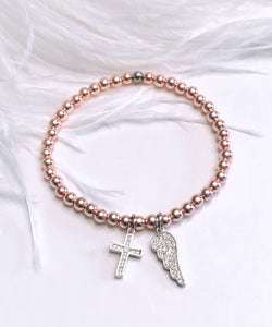 Angel Wing and Cross Charm Bracelet