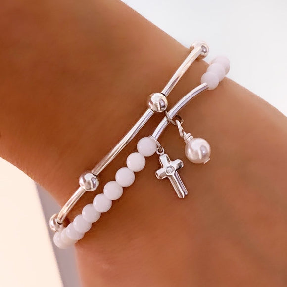 Elegant Kids Cross and Swarovski Pearl Bracelet
