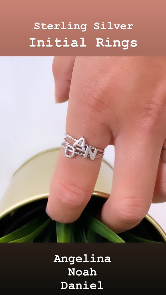 Sterling Silver Initial Letter Rings