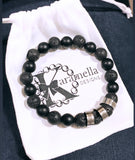 Mens Personalized Stainless Steel Gemstone Bracelet