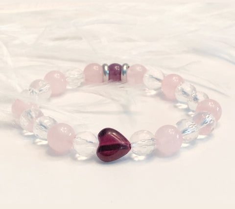 Red Tigers Eye Heart with Rose Quartz-Clear Quartz and Amethyst