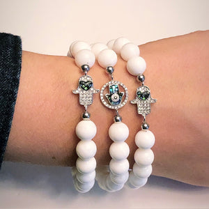Hamsa Bracelet with Clam Shell Beads