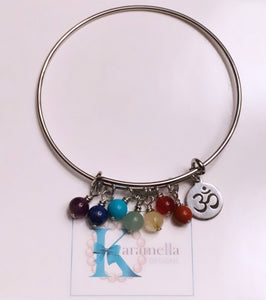 Chakra Gemstone and Om Bangle