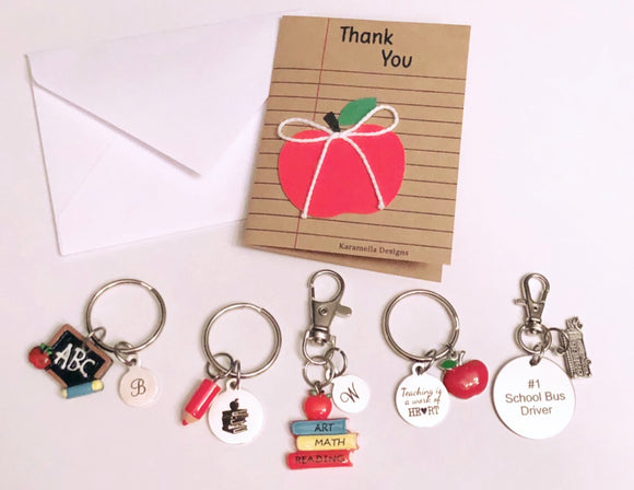 Teacher Keychains with Handmade Thank you Card