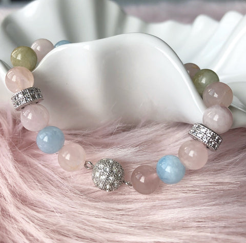 Morganite 8mm Bead Bracelet