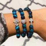 Blue Tigers Eye Ladies Bracelet