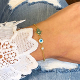 Hamsa and evil eye sterling silver bracelet