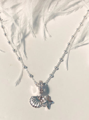 Mermaid Starfish and Seashell Sterling Silver Necklace