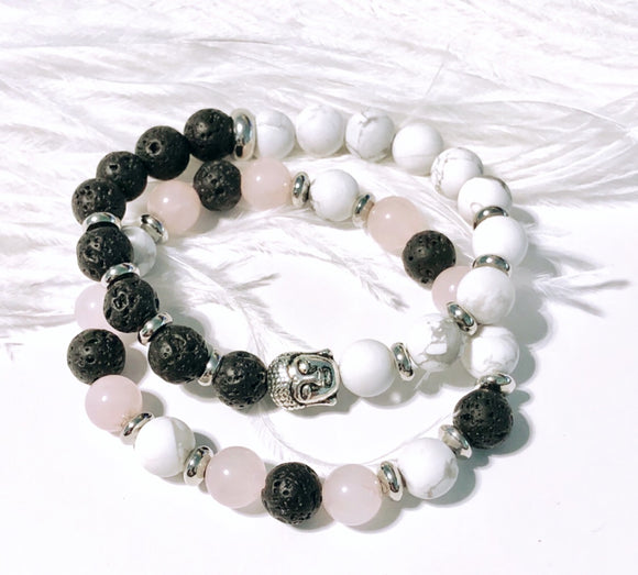 White Howlite and Black Onyx Bead Bracelet with Budha Charm