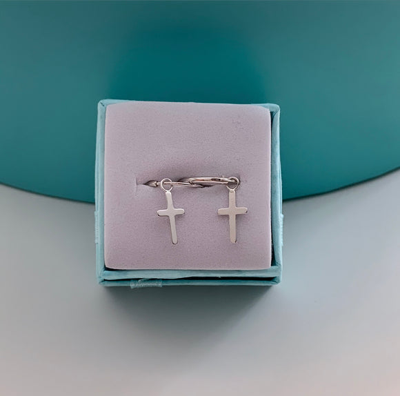 Sterling Silver Cross Huggies