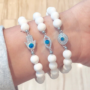 Evil Eye Clam Beaded Bracelet