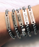 Positive Vibes Stainless Steel Bar Bracelets