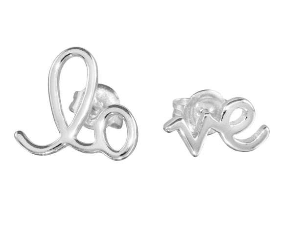 LOVE Stud Sterling Silver Earrings