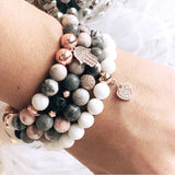Pink Zebra Jasper and Clam Shell Stack - sold separately