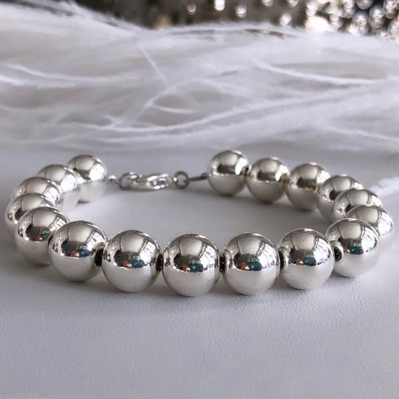 Sterling Silver Ball Beaded Bracelet