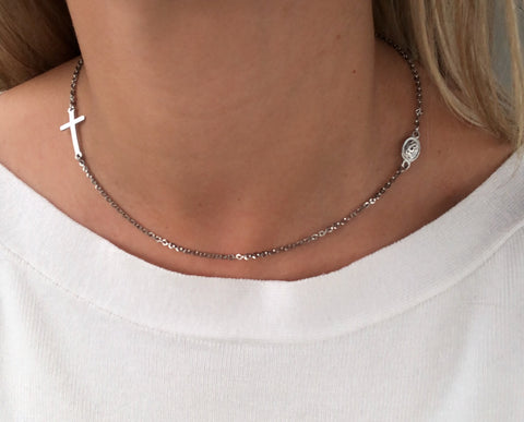 "16"" Stainless Steel Chain and Cross -Rosary Necklace"