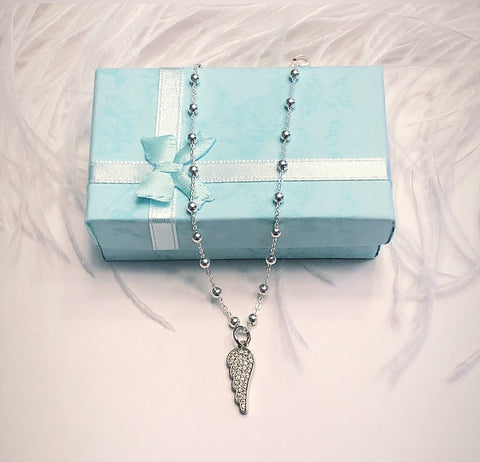 Angel Wing Pavé set Charm on our Favourite necklace