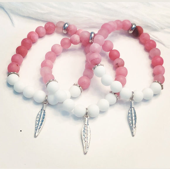 White Jade and Agate Beads with Feather Charm
