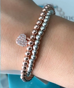 Rose Gold Pavé Heart Bracelet