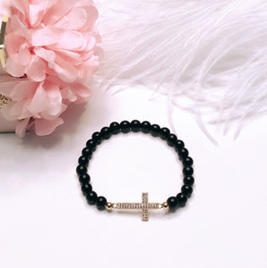 Black Onyx & Pavé Set Cross Bracelet