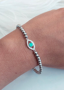 Evil Eye Stainless Steel Charm Bracelet