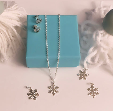 Snowflake Pendant and Sterling Silver Chain
